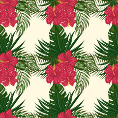 Tropical leaves and flowers pattern. Hawaiian seamless pattern with tropical plants.