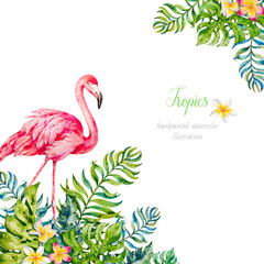 Flamingo in tropical leaves. Watercolor illustrations. Paradis