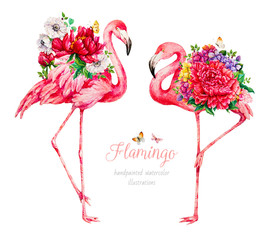 Flamingo with flowers. Watercolor botanical illustration