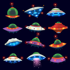 Set of colorful alien space ships in the sky. Isolated vector illustrations