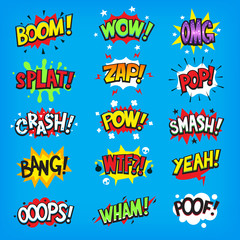 Set of colorful comic speech bubbles with sounds. Isolated vector illustrations