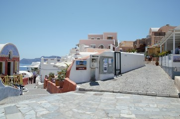 Typical village view in Oia Santorini – white and colours