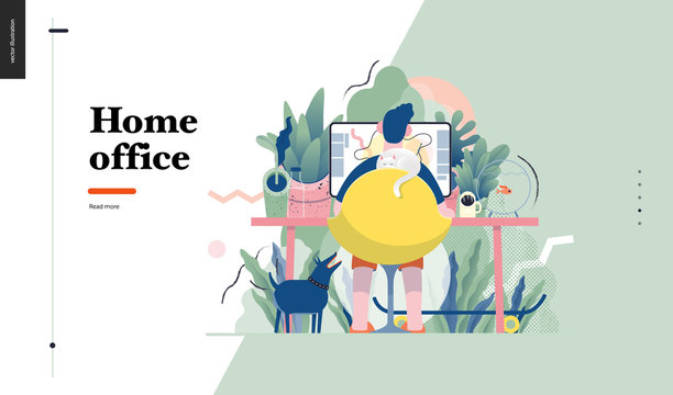 Technology 1 -Home Office - modern flat vector concept digital illustration home office metaphor, a freelancer guy working at home with pets and plants. Creative landing web page design template