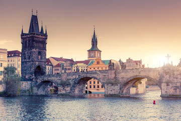 Stunning image of Charles bridge in Prague.