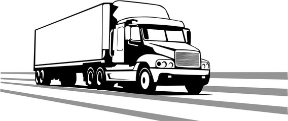 Tractor Trailer Vector Illustration