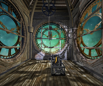 Clock tower interior in a steampunk style - 3D illustration