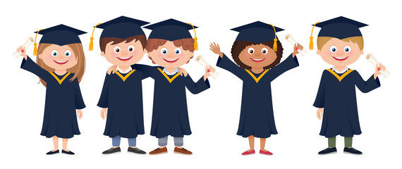 Group of happy smiling graduate students in graduation gowns holding diplomas, cartoon vector illustration