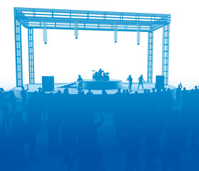 Concert, live music, band, performances and festivals. Tour and band. Spectators fun, music and dance. Disco, musical evening. Stage. 3d rendering