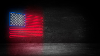 USA flag neon sign. Night bright Signboard USA flag. American flag on an old brick wall, neon light. National Day USA. Festive background with American neon flag. Dark room, corridor, tunnel neon