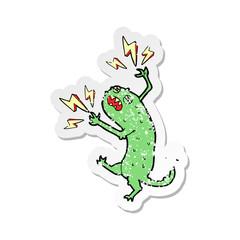 retro distressed sticker of a cartoon little monster