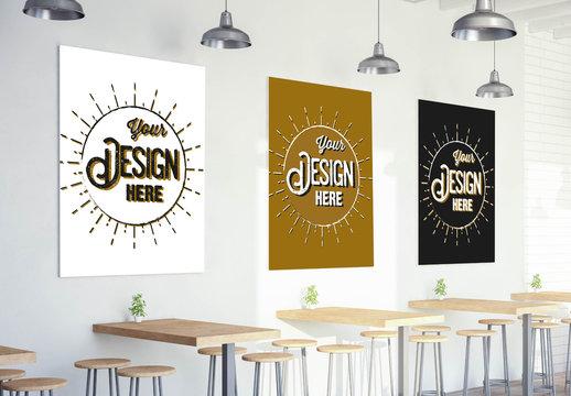 3 Posters on Bar Wall Mockup