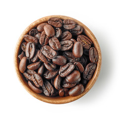 Poster Café en grains wooden bowl of coffee beans
