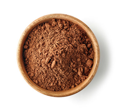wooden bowl of cocoa powder