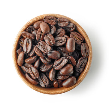 wooden bowl of coffee beans