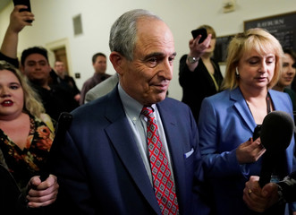 Lanny Davis departs after House Committee on Oversight and Reform hearing on Capitol Hill in Washington