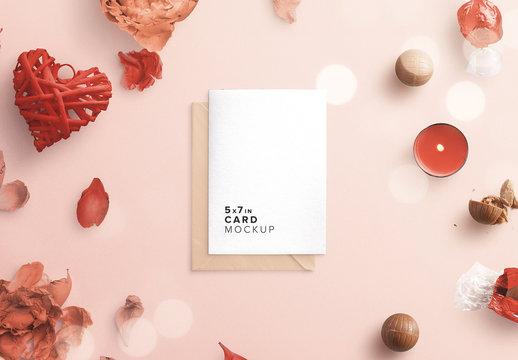 Card and Envelope Romantic Mockup Scene Creator