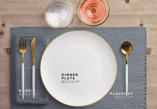 Dinner Table Placement Set Mockup