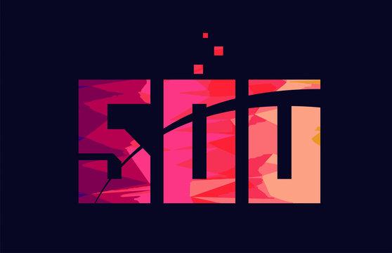 pink blue background color number 500 for logo icon design