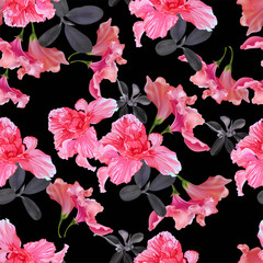 Floral seamless pattern with rhododendron  vector illustration