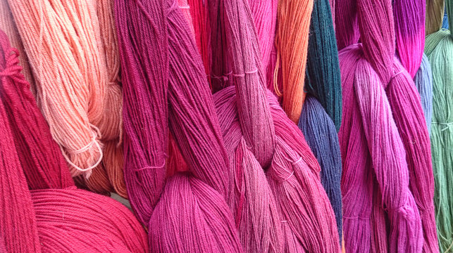 closeup of colorful yarn