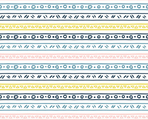 Seamless hand drawn pattern, boho pastel colors, lines and dots,triangle, tribal Navajo, Aztec geometric print, ethnic hipster backdrop, texture, lines and dots, wallpaper, minimalist