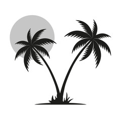silhouette of a black palm tree with a moon on a white background