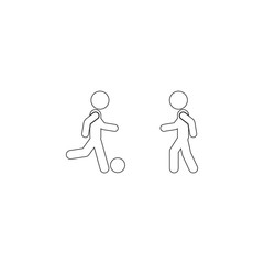 Friends play football icon. Simple thin line, outline vector of Friendship icons for UI and UX, website or mobile application