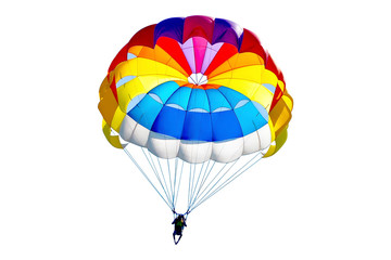 Bright colorful parachute on white background, isolated.