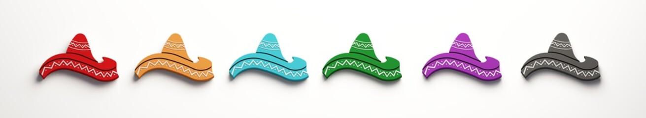 Mexican Hats- Cinco de Mayo Celebration. 3D Render Illustration