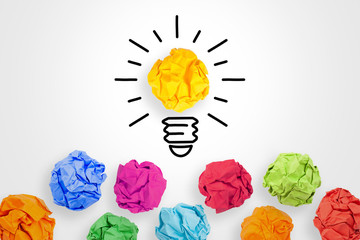 Idea Concepts with Crumpled Paper on White Background