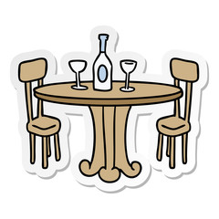 sticker cartoon doodle dinner table and drinks