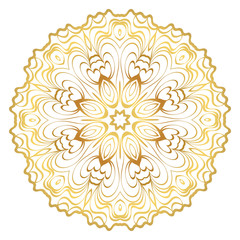 Design With Beautiful Floral Mandala. Vector Illustration. For Coloring Book, Greeting Card, Invitation, Tattoo. Anti-Stress Therapy Pattern. Gold color