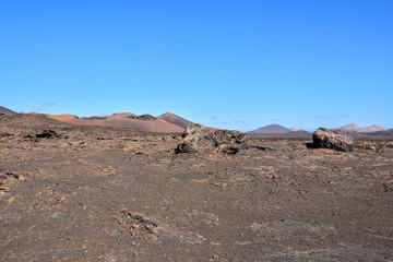 Volcanic landscapes on Timanfaya.