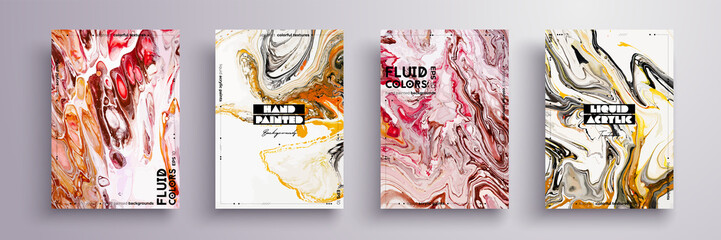 Abstract painting, can be used as a trendy background for wallpaper, poster, invitation, cover and presentation. Fluid art. Liquid marble texture with mixed of acrylic yellow, pink, orange paints
