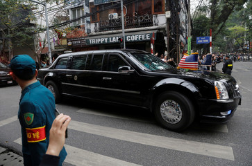 Convoy carrying U.S. President Trump heads towards the Metropole for his meeting with North Korean leader Kim Jong Un in Hanoi
