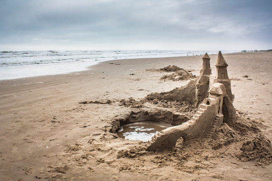 An ornate sandcastle on the South Padre Isalnd beach.