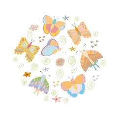 Round shape made with butterflies.