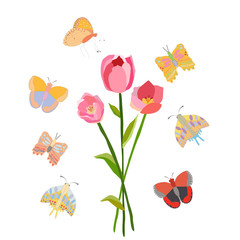 Spring floral illustration with butterflies.