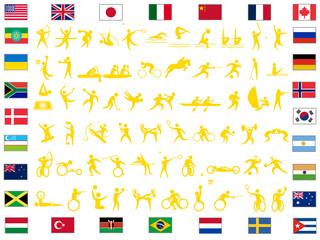 障がい者スポーツを含むスポーツアイコンのセット。東京オリンピック、パラリンピックの競技種目のリストです。
