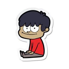 sticker of a happy cartoon man