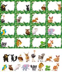 Set of animal on nature frame