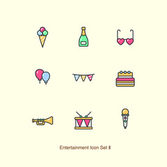 Entertainment vector icon set 02_fun, happy hour, birthday, holiday, party