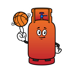 Cartoon Gas Cylinder Character Spinning a Basketball