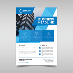 Corporate business flyer template with blue geometric shapes