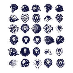set of head lion logo design vector