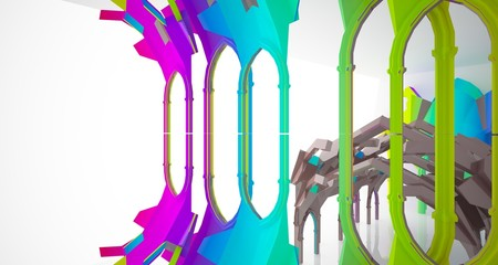 Abstract white and colored gradient  gothic interior. 3D illustration and rendering.