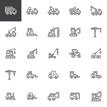 Construction truck line icons set. linear style symbols collection, outline signs pack. vector graphics. Set includes icons as crane, equipment, industry, bulldozer, tractor, excavator machinery