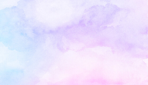 Fantasy smooth light pink, purple shades and blue watercolor paper textured illustration for grunge design, vintage card, templates. Pastel ink colors wet effect hand drawn canvas aquarelle background