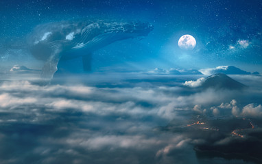 Obraz Nocturne surreal dream with clouds, big whale hovering in the space, night landscape under full moon on background - fototapety do salonu