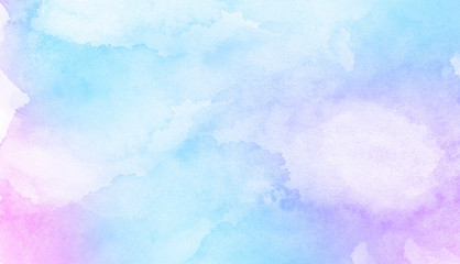 Fantasy smooth light pink, purple shades and blue watercolor paper textured illustration for grunge...